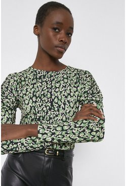 Green Printed Ruched Sleeve Top
