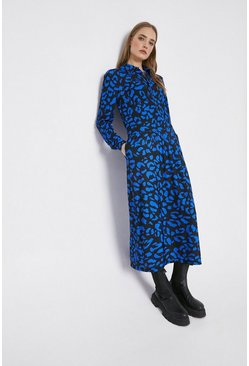 Blue Printed Long Sleeve Shirt Dress