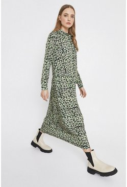 Green Printed Long Sleeve Shirt Dress