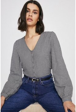 Blackwhite Gingham Button Front Top
