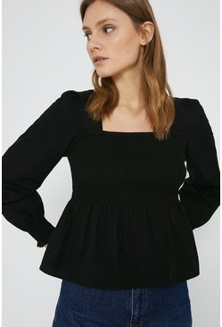 Black Cotton Square Neck Top
