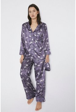 Grey Horoscope Print Pyjama And Eyemask Set