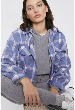 Blue Double Pocket Check Shirt