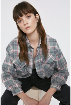 Grey Double Pocket Check Shirt