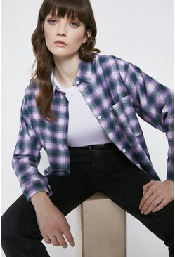 Lilac Oversized Check Shirt
