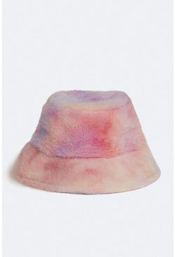 Multi Rainbow Tie Dye Furry Bucket Hat