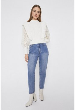 Ecru  Ruffle And Lace Cable Jumper