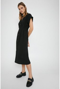 Black Button Front Midi Dress
