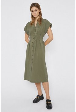 Khaki Button Front Midi Dress
