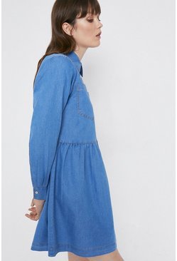 Mid wash Denim Full Skirt Mini Shirt Dress