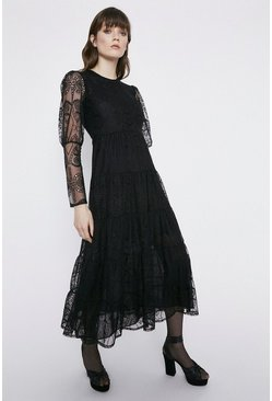 Black Lace Tiered Midi Dress