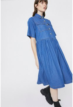 Mid wash Denim Full Skirt Midi Shirt Dress