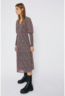 Black Ditsy Print Smocked Cuff Wrap Detail Midi Dress