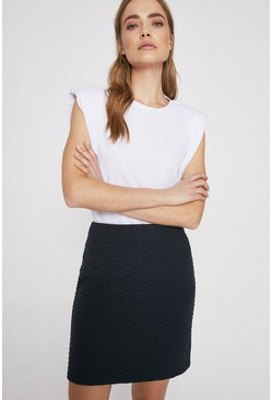Navy Quilted Short Skirt