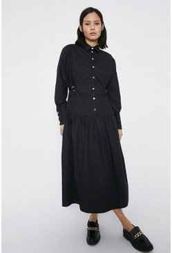 Black Contrast Detail Midi Shirt Dress
