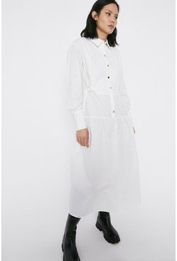 White Contrast Detail Midi Shirt Dress