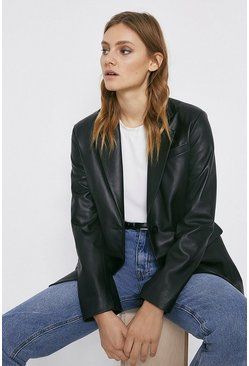 Black Real Leather Blazer
