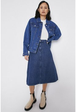 Mid wash Denim Full Midi Skirt