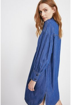 Mid wash  Denim Oversized Puff Sleeve Shirt Dress