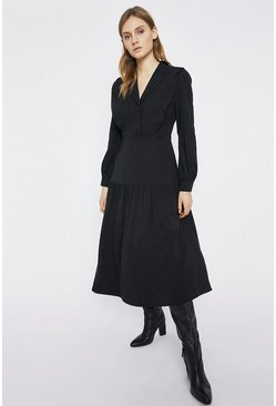 Black Tiered Shoulder Detail Midi Shirt Dress