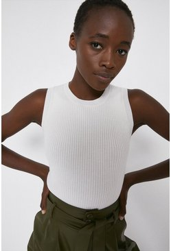 Ivory Ribbed Crew Neck Vest