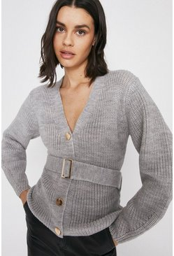 Grey Premium Wool Blend Belted Cardigan