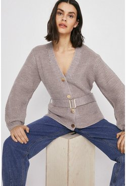 Oatmeal Premium Wool Blend Belted Cardigan