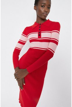 Red Colourblock Collar Detail Midi Dress