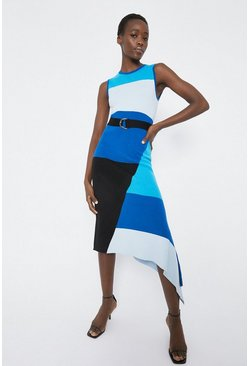 Blue Colourblock Sleeveless Midi Dress