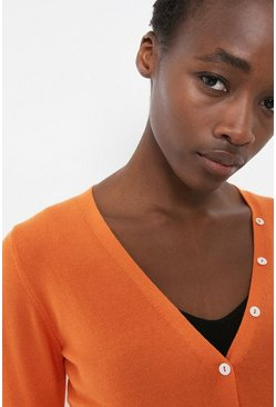 Orange V Neck Button Detail Cardigan