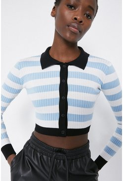 Pale blue Ribbed Stripe Cropped Polo Jumper