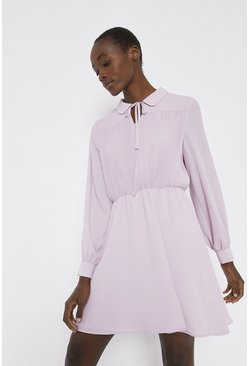 Lilac Tie Neck Flippy Dress