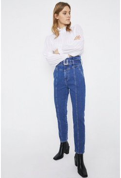 Mid wash Belted High Waisted Skinny Jeans