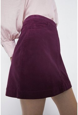 Berry Cord Pocket Detail Mini Skirt