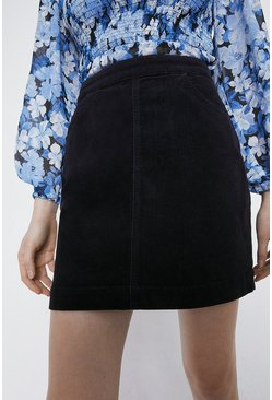 Navy Cord Pocket Detail Mini Skirt