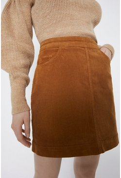Tan Cord Pocket Detail Mini Skirt