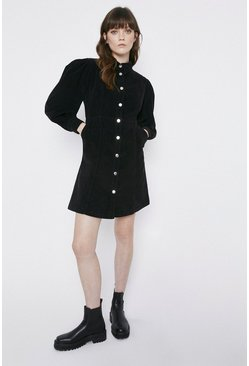 Black Cord Puff Sleeve Mini Shirt Dress