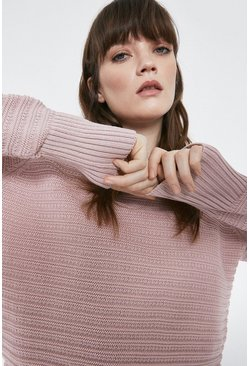Pale pink Stitch Detail Cropped Ottoman Jumper