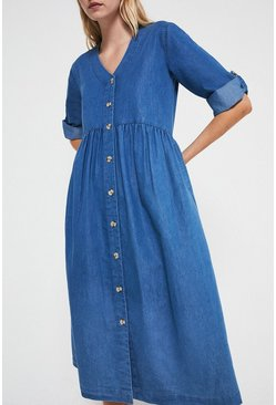 Mid wash Denim Midi Smock Dress