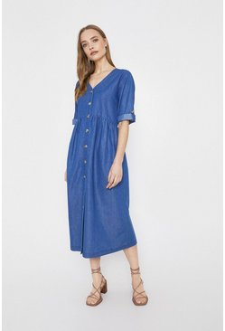 Washed blue Denim Midi Smock Dress