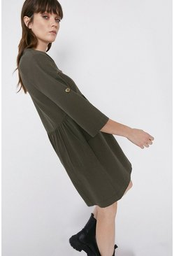 Khaki Twill Smock Dress