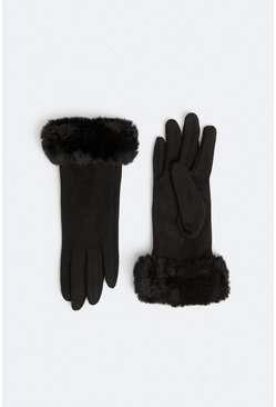 Black Faux Suede Gloves With Faux Fur Cuff