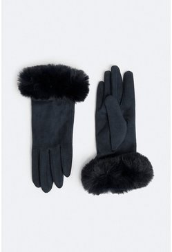 Navy Faux Suede Gloves With Faux Fur Cuff