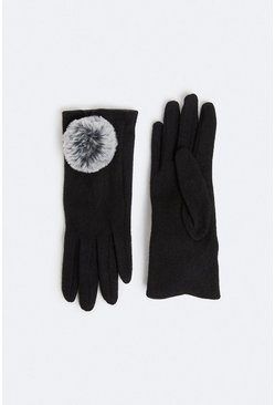 Black Faux Fur Pom Pom Gloves