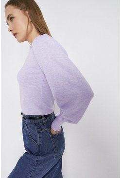 Lilac Ruffle Funnel Neck Blouson Sleeve Jumper