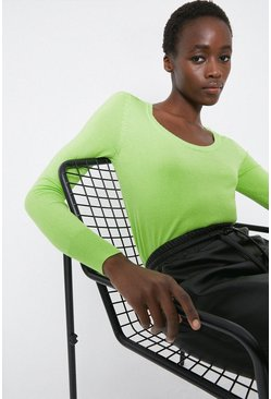 Apple green Extreme Scoop Neck Jumper