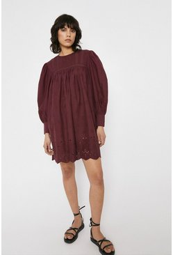 Berry Lace Insert Long Sleeve Mini Dress