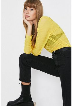 Yellow Shirred Funnel Neck Relaxed Top