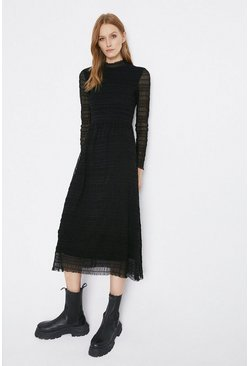 Black Shirred Funnel Neck Midi Dress