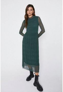 Dark green Shirred Funnel Neck Midi Dress
